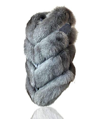 Gilet foncé fourrure Manteaux renard gris pour 100 Uilor® naturelle de femme en Classique aAwSdRxOq