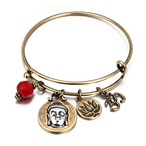(HONGYE Spiritual Om Expandable Wire Charm Bracelet Antique Gold Tone with Crystal )