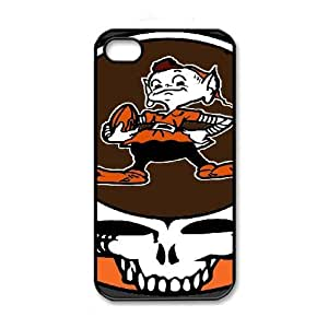 NFL iPhone 4 4s Black Cell Phone Case Cleveland Browns PNXTWKHD2751 NFL Durable Plastic Phone Case Cover
