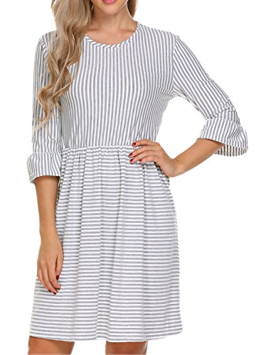 Bluetime Women's 3/4 Sleeve Ruffle Striped Swing A Line Casual Loose Dresses Spring Summer Grey M (Casual Spring Summer Dress)