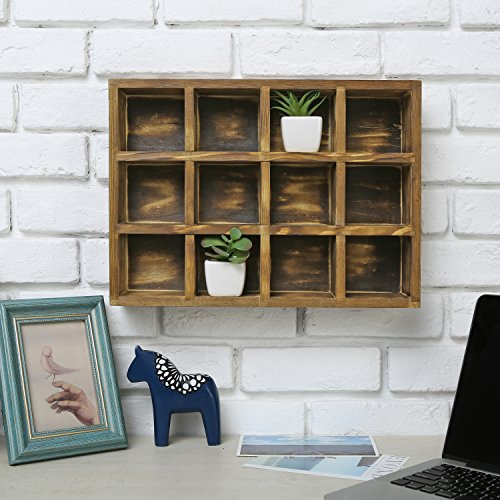 12 Compartment Torched Wood Freestanding or Wall Mounted Shadow Box, Display Shelf Shelving Unit by MyGift (Image #2)