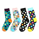 Women Multicolor Patterned Dress Socks Creative Fun Casual Cotton Crew Socks 4 Pack
