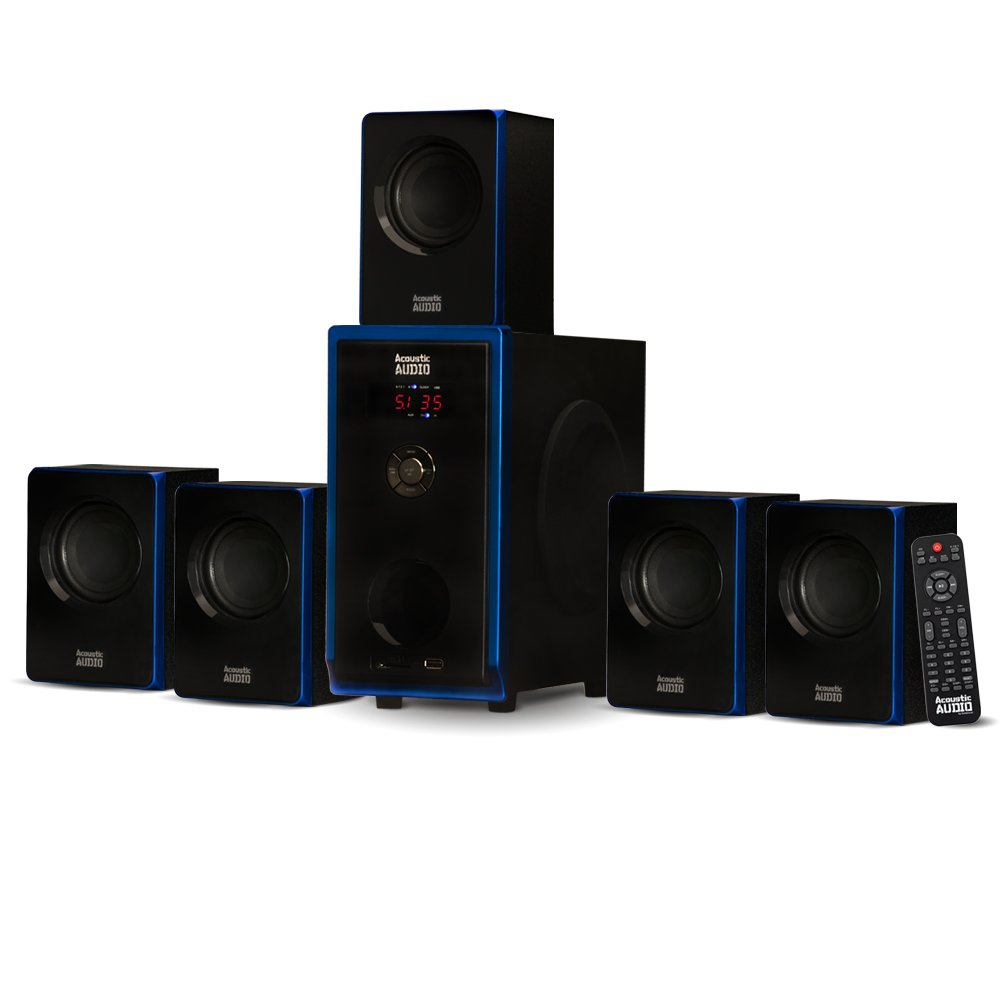 Acoustic Audio AA5102 Bluetooth Powered 5.1 Speaker System Home Theater Surround, Black (AA5102)