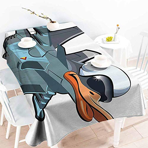 HRoomDecor Water Resistant Tablecloth,Airplane Decor Collection,Jet Bird Angry Comic Aircraft Army German Pilot Helmet Duckling Funny Character Image,Grey White 70