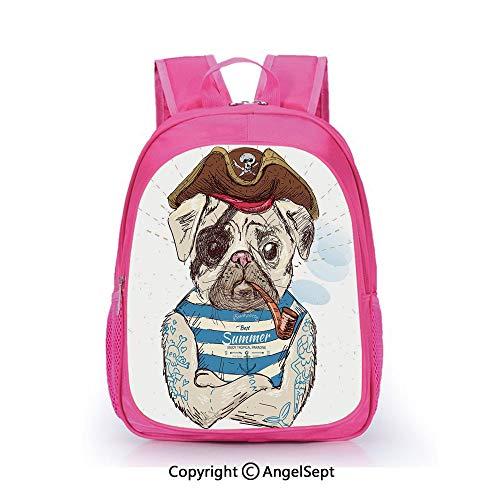 Children Schoolbag Cute Animal Cartoon Custom,Pirate Pug Conqueror of the Seas Pipe Skulls nes Hat Striped Sleeveless T Shirt Decorative Brown Blue,15.7inch,Fashion Lightweight School Backpack
