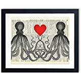 Octopus Love Upcycled Vintage Dictionary Art Print 8x10