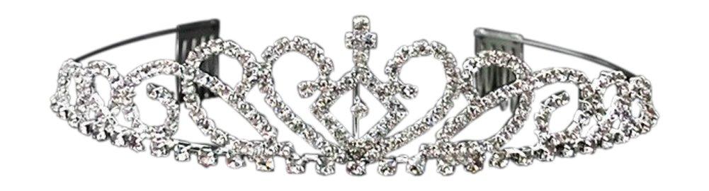 Shop Ginger Wedding Girls Silver Rhinestone First Communion Cross Tiara Crown (B)