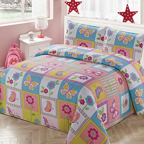 Better Home Style White Pink Blue & Yellow Patchwork Butterflies Floral Butterfly Kids/Girls Coverlet Bedspread Quilt Set with Pillowcases with Butterfly and Flower Imagery # 2017240 (Queen/Full)