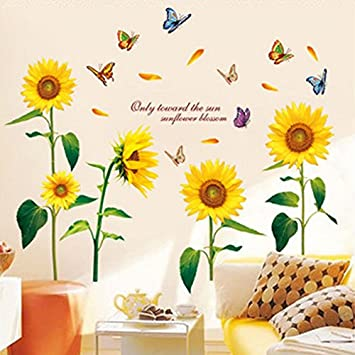 Amazon.com: Sunflowers Butterflies English Letters Wall Decal PVC ...