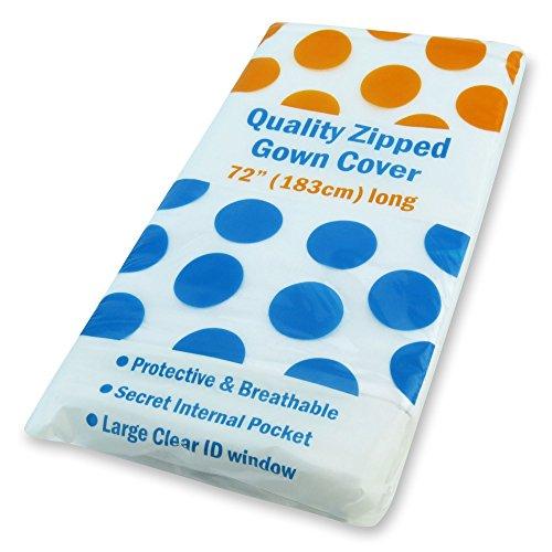"Hangerworld 3 X-large White Breathable Wedding Gown Garment Bags 72"" with 14"" Gusset & Secret Pocket"
