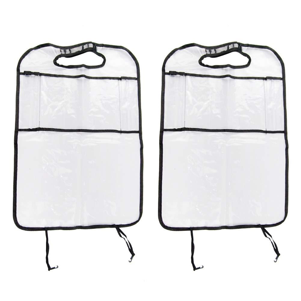 color blanco Alfombrillas con organizador de asiento trasero de coche y bolsillo de almacenamiento 100/% impermeable 2 unidades Protector Premium para asiento de coche