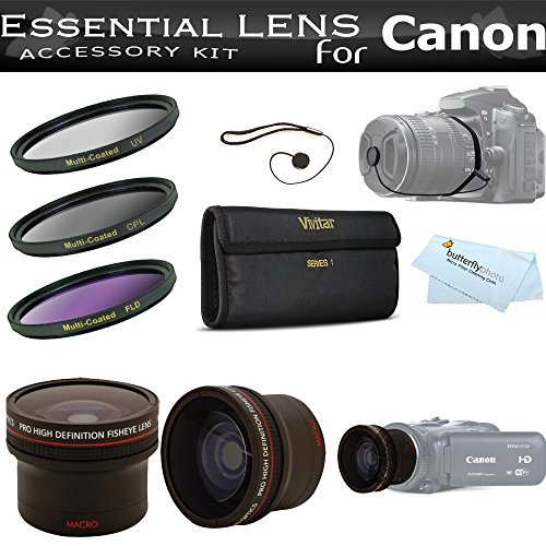 58mm Fisheye Lens Kit For Canon HF G20, HF G30, HF G40 HD Camcorder Includes HD Super Wide Fisheye 0.16x Conversion Lens + 3pc (UV-CPL-FLD) High Resolution Multi Coated Filter Kit + Cap Keeper + More