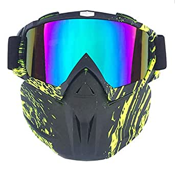 Retro Mask Off Road Motorcycle Goggles Racing Car Outdoor Riding Ski Glasses Tactical Mask Black Green