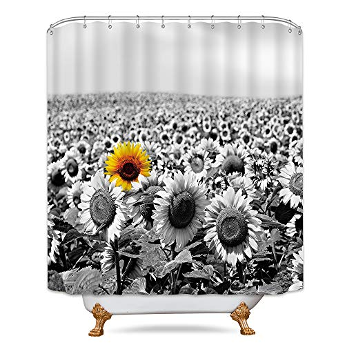 (Riyidecor Yellow Sunflowers Field Shower Curtain Free Metal Hooks 12-Pack Grey Flower Sea Spring Landscape Decor Fabric Set Polyester Waterproof 72x72 Inch for Clawfoot)