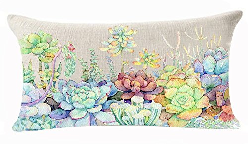 Acelive 12 x 18 Inch Fresh And Colorful Hand-painted Potted Plants Succulents Cotton Linen Throw Waist Lumbar Pillow Case Cushion Cover For Sofa Study Room Coffee House Decor Decoration Holiday Gifts