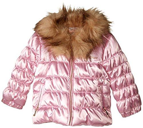 - Juicy Couture Little Girls Pink Bubble Jacket W/Faux Fur Collar Trim (6X)