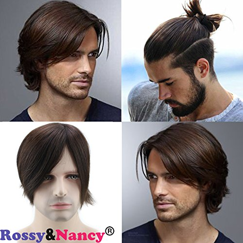 Rossy&Nancy Skin Mens Human Hair Wigs Toupee Mono Base with Thin Skin Hairpieces for Man #3 Brown Color 130% Density 6