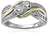 14k Yellow And White Gold Diamond Twisted Two Stone Ring (1cttw, H-I Color, I2 Clarity), Size 7