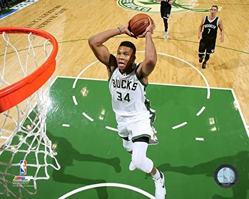 Size: 8 x 10 NBA Giannis Antetokounmpo Milwaukee Bucks Action Photo