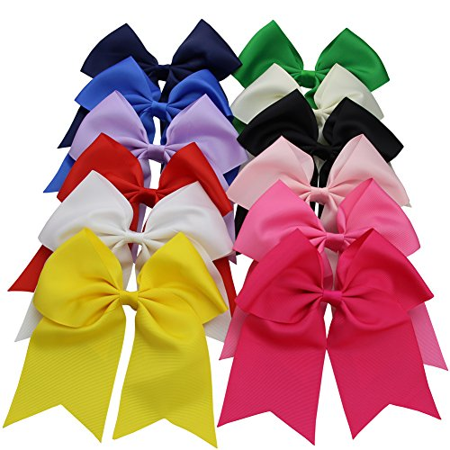 QtGirl 12 pcs Large Jumbo Cheer Hair Bows with Alligator Hair Clips for Cheerleading Girls Teens by QtGirl