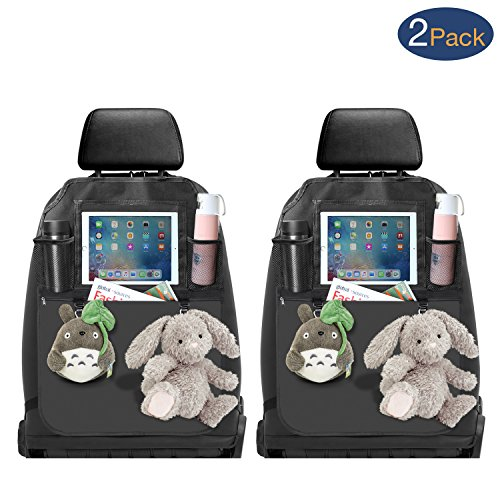 2 Pack Universal Car Front Seat Back Organizer & Kick Mats with One Large PU Zipper Storage Pocket (20