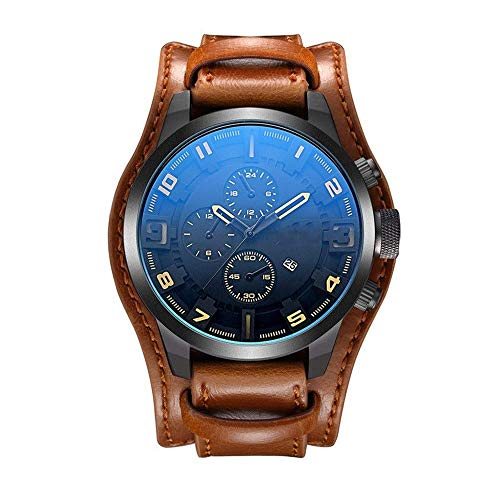 BEWITCHYU Practical Wristwatches Casual Business Big Dial Watch Men 's Big Belt Sports Quartz Watch Calibration Small Circle Men Decorative Watch BraceletBrownish Yellow