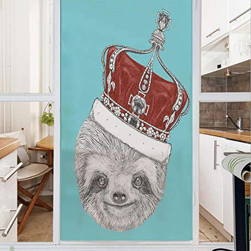 Decorative Window Film,No Glue Frosted Privacy Film,Stained Glass Door Film,Cute Hand Drawn Animal with Imperial Ancient Crown King of Laziness Theme Decorative,for Home & Office,23.6In. by 47.2In Aqu