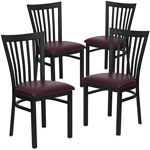 Restaurant Schoolhouse Chairs (Flash Furniture 4 Pk. HERCULES Series Black School House Back Metal Restaurant Chair - Burgundy Vinyl Seat)
