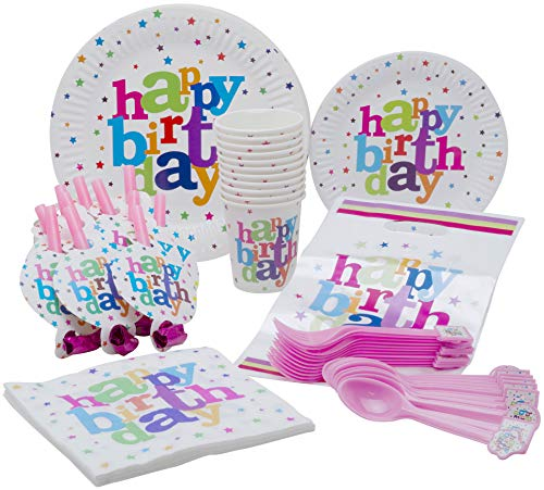 Happy Birthday Paty (Polka Dot Happy Birthday Theme Party Pack - Disposable Paper Plates, Cups, Napkins, Forks, Spoons, Gift Bags and Party Blowers - Serves)