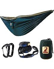 Camping Hängematte Doppel Leicht Tragbar Fallschirm Hängematten mit Moskitonetz, Outdoor Hängematte für Trekking, Reise, Strand, Garten