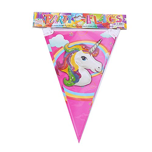 PARTY FLAGS Unicorn Pennant Banners Paper Triangle Flags - Perfect for Children Party Supplies Decorations (Pack of 3) (Happy Pinata Feet)