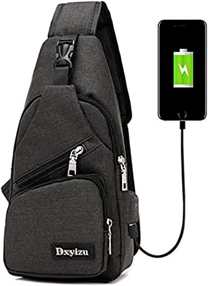 YMN Travel Shoulder Messenger Bag with USB Charging Port and Headset Port Large Capacity Business Bag for College,Working,Hiking,Climbing,Black