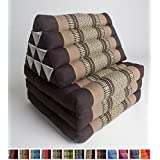Leewadee Foldout Triangle Thai Cushion, 67x21x3 inches, Kapok Fabric, Brown, Premium Double Stitched