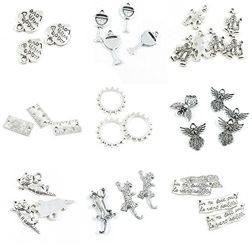 (34 PCS Jewelry Making Charms Words Strip Sign Leopard Lucky Fat Cat Fairy Angel Cog Steampunk Gear Gearwheel)