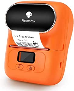 Phomemo-M110 Label Maker - Portable Bluetooth Thermal Label Printer Apply to Clothing, Jewelry, Retail, Mailing, Barcode and More, Compatible for Android & iOS System, Orange