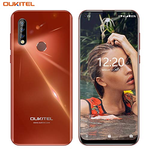 OUKITEL C17 PRO Unlocked Cell Phones,6.35″ HD Blind Hole Display, Triple Rear Sony Camera(13MP + 5MP + 2MP),Android 9.0 Octa-Core 4GB + 64GB ROM,3900mAh Battery 4G LTE GSM Unlocked Smartphone(Red)