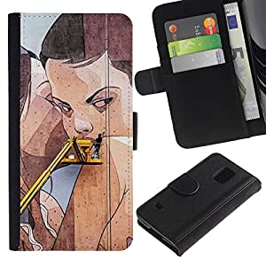A-type (Street Art Drawing Pared mujer lesbiana) Colorida Impresión Funda Cuero Monedero Caja Bolsa Cubierta Caja Piel Card Slots Para Samsung Galaxy S5 V SM-G900