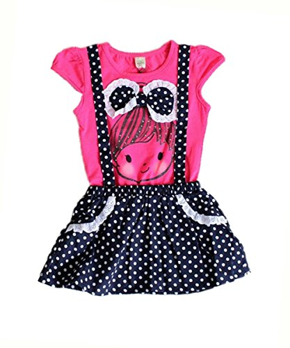 Baby Girls Kids Polka Dot One-pieces Dress Skirt Summer Dress Belt Clothing 2-6y (5-6 Years, rose) (H And M Fancy Dress)