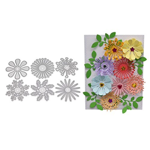 ANBOO Cutting Dies, Flower Heart Metal Cutting Dies Stencil Cutting for Making Scrapbooking Cut Flower Metal Die Cuts for Card Making (F)