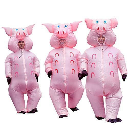 Inflatable Pig Costume Adult Fancy Dress Cosplay Inflatable Christmas Costume Adult for Party(Pink Pig)