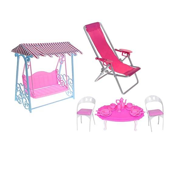Deck Chair Dining Table Chair Swing Kit for Blythe Takara Dolls House Decor