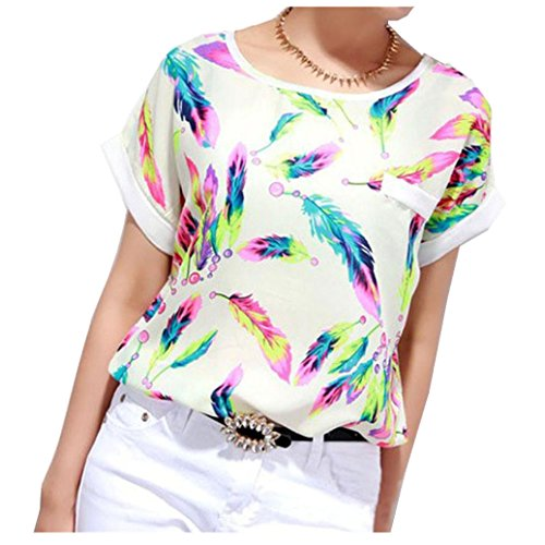 YANG-YI Women Feathers Chiffon Blouse Printed Top Casual Short Sleeve Loose T-Shirt (M, Multi-color)