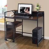 Tangkula 2 Tier Computer Desk Home Office Studyroom Apartment Dom Simple Design Spacious Workstation Study Writing Table Notebook Laptop Desk Compact Computer Desks (desk with file cabinet)