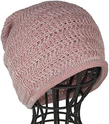医療用帽子 抗がん剤帽子 生地と縫製にこだわる/シームレスニットライトピンク杢