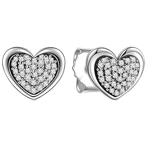 Sterling Silver Carved Heart Earrings (SOUFEEL Heart Shaped Earrings Crystal 925 Sterling Silver Studs Earrings For Girls Gifts for Mother's Day)