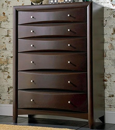 Home 6 Drawer Chest (Coaster 200415 Phoenix Chest with Six Drawers Hardwood Solids and Wood Veneers in Deep Cappuccino)
