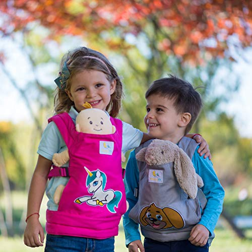 HappyVk- Baby Doll Carrier for Kids- with Cute Unicorn Embroidery. Fits Dolls or Stuffed Animals up to 24 inches, Front and Back (as Backpack Carrier) Positions Wearing