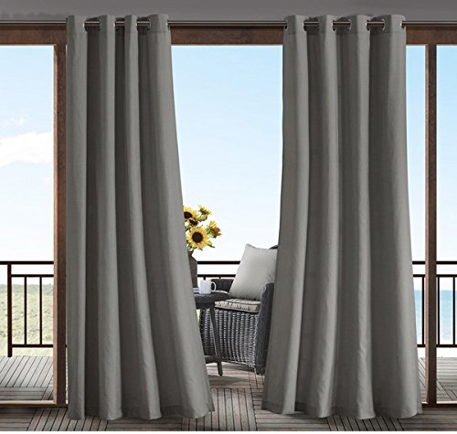 DH 1 Piece 84 Inch Taupe Color Gazebo Curtain Single Panel, Light Brown Solid Color Pattern Rugby Colors Outside, Outdoor Pergola Drapes Porch Deck Cabana Patio Screen Entrance Sunroom Lanai