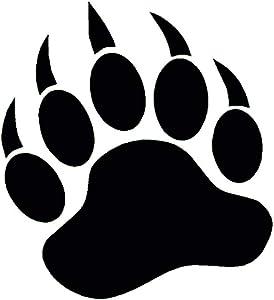 "StickerDad Bear Paw Print Grizzly Black Bear Size: 5"" - Windows, Walls, Bumpers, Laptop, Lockers, etc. (Black)"