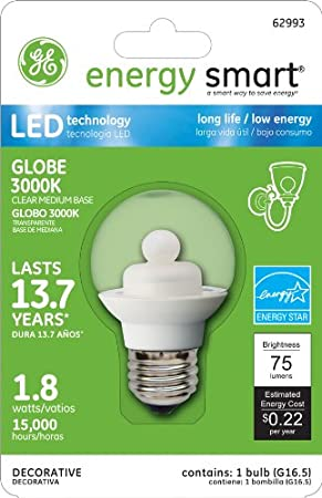Amazon.com: GE Lighting 62993 Energy Smart LED 1.8-Watt (15-watt replacement) 75-Lumen G16.5 Light Bulb with Medium Base, 1-Pack: Home Improvement